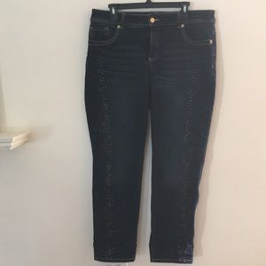 Chico's So Sliming High waisted embellished jeans.
